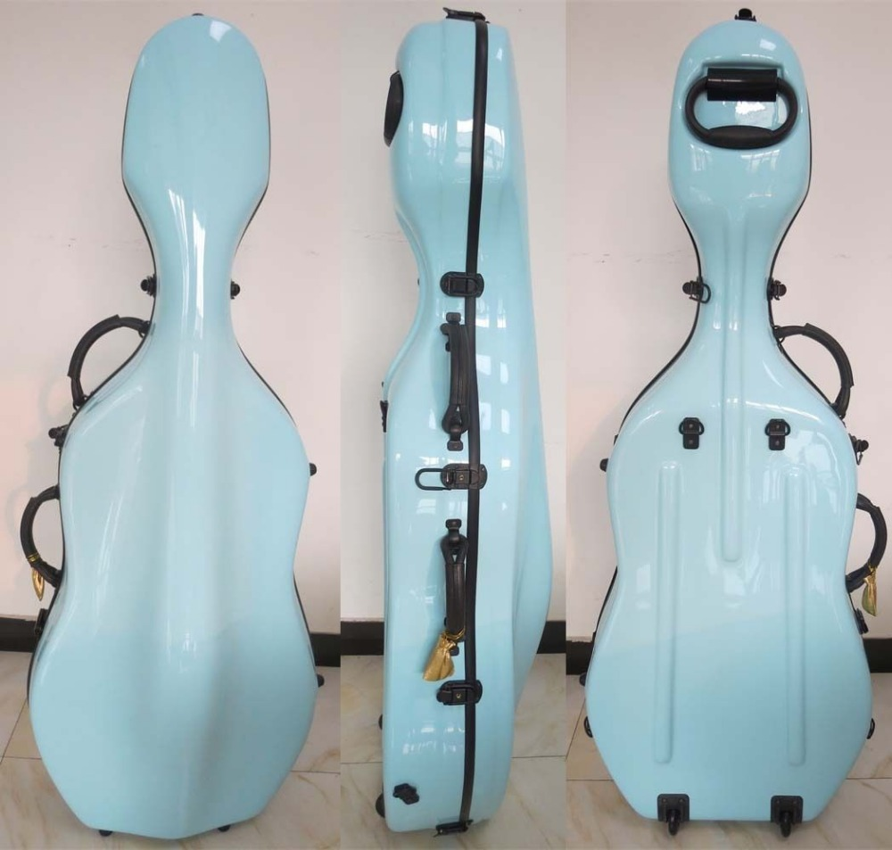 light blue fiberglass hard cello case 3 4 w wheells shoulder straps in violin parts. Black Bedroom Furniture Sets. Home Design Ideas