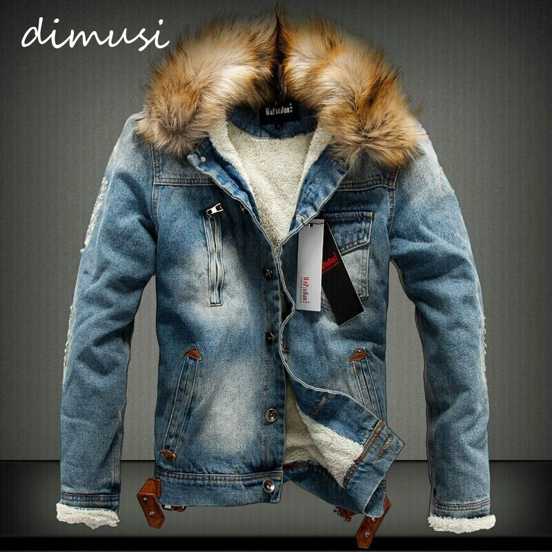 DIMUSI Spring Winter Denim Men Jackets Male Faux Fur Collar Retro Ripped Fleece Thick Warm Jeans Jacket and Coat 4XL,TA064 ...