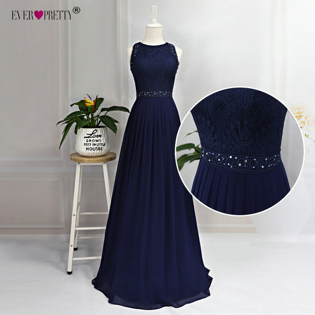 Long Evening Dresses 2020 Ever Pretty Elegant Beading A Line Pleated Chiffon Lace Formal Dress Party Gown EP07391 robe de soiree 5