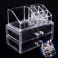 2017 NEW Cosmetic Organizer 2 Layer Drawers Acrilico Desk Jewelry Organizer Acrylic Makeup Organizer Arrangement Storage