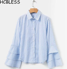 HCBLESS Women shirt 2018 autumn new women's wholesale fashion cassock sleeves striped shirt(China)