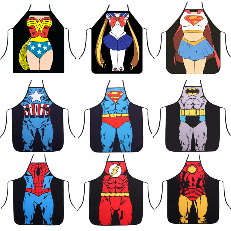Aprons Kitchen Personalized Digital Printed  Funny Super Hero Apron Dinner Party Cooking Apron Adult Cuisine Pinafore