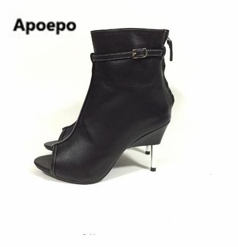 Sales real picture women black high heels ankle boots buckle strap peep toe dress high heels fashion riding boots women shoes women fashion boots round toe super high thick heels knee high buckle decoration ankle strap women snakeskin designer boots