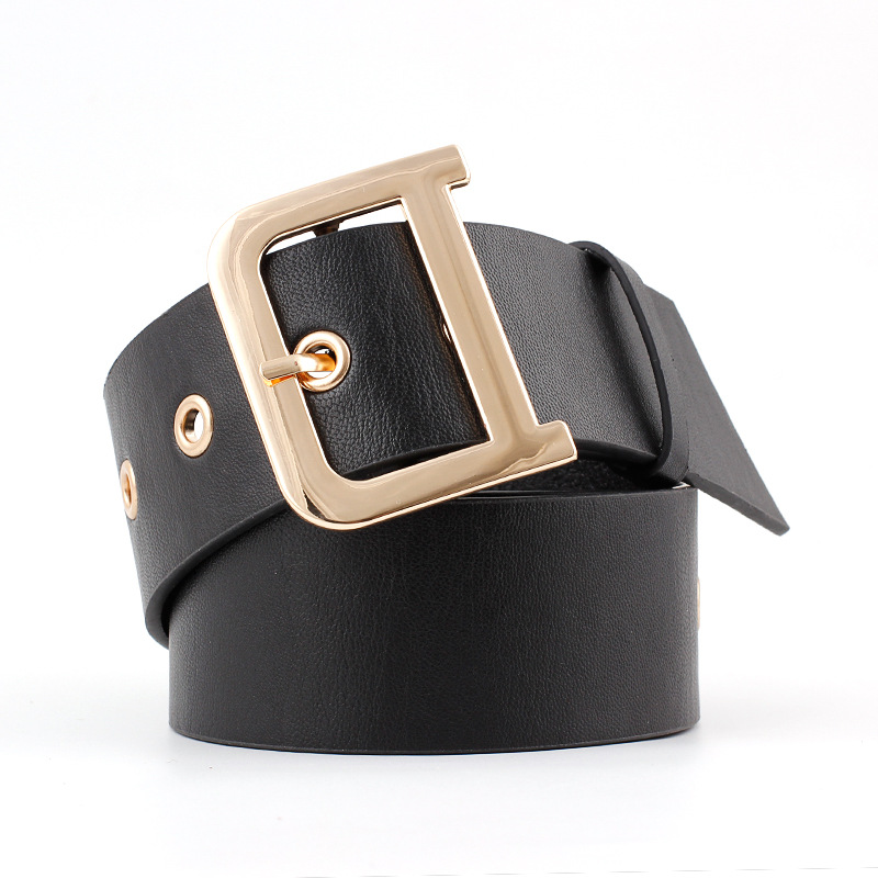 2019 New Designer Ladies Wide Black White Genuine Leather Waist   Belt   Womens Gold Silver Buckle   Belts   for Women Jeans SE83