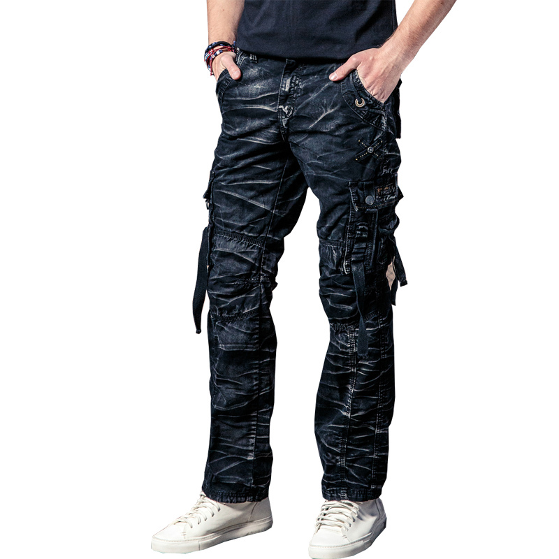Drop Shipping Newest Cotton Men Cargo Pants Multi-pockets Baggy Pants Military Overalls 29-40 JPCK02