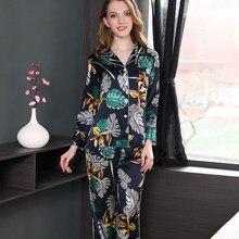 bd79ffefa5 Elegant Sexy 100% silk pyjama set womens fresh leaves long sleeve noble  pajama sets female silk nightwear women home wear
