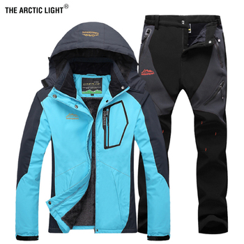 THE ARCTIC LIGHT  Women Winter Fishing Waterproof Skiing Warm Fur Outdoor Trekking Jacket Pant Hiking Climb Camping Travel Suit the arctic light men windproof waterproof soft shell hiking ski jacket outdoor skiing coat camping trekking splice color