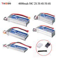 4000mAh Lipo 2S 3S 4S 5S 6S Battery 7.4V 11.1V 14.8V 18.5V 22.2V 50C max 100C Strap Lipo Battery For Helicopter RC Car Airplane