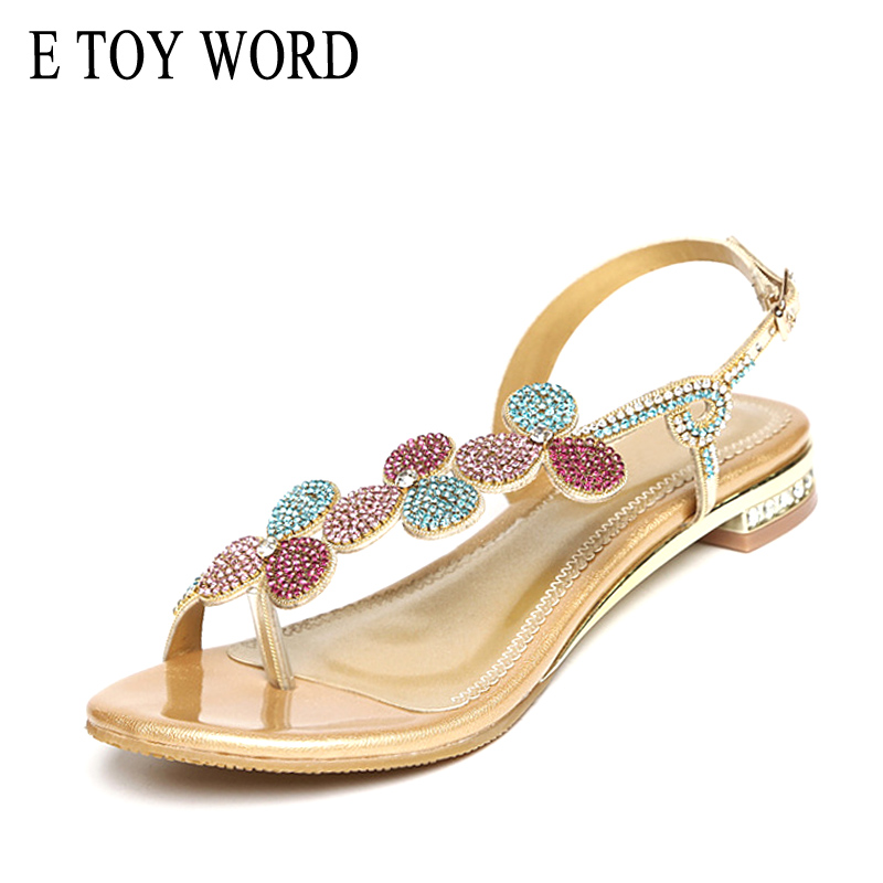 E TOY WORD Sandals women 2019 Summer Genuine Leather Rhinestone sandals Low Heels Thick with large size beach women shoesE TOY WORD Sandals women 2019 Summer Genuine Leather Rhinestone sandals Low Heels Thick with large size beach women shoes