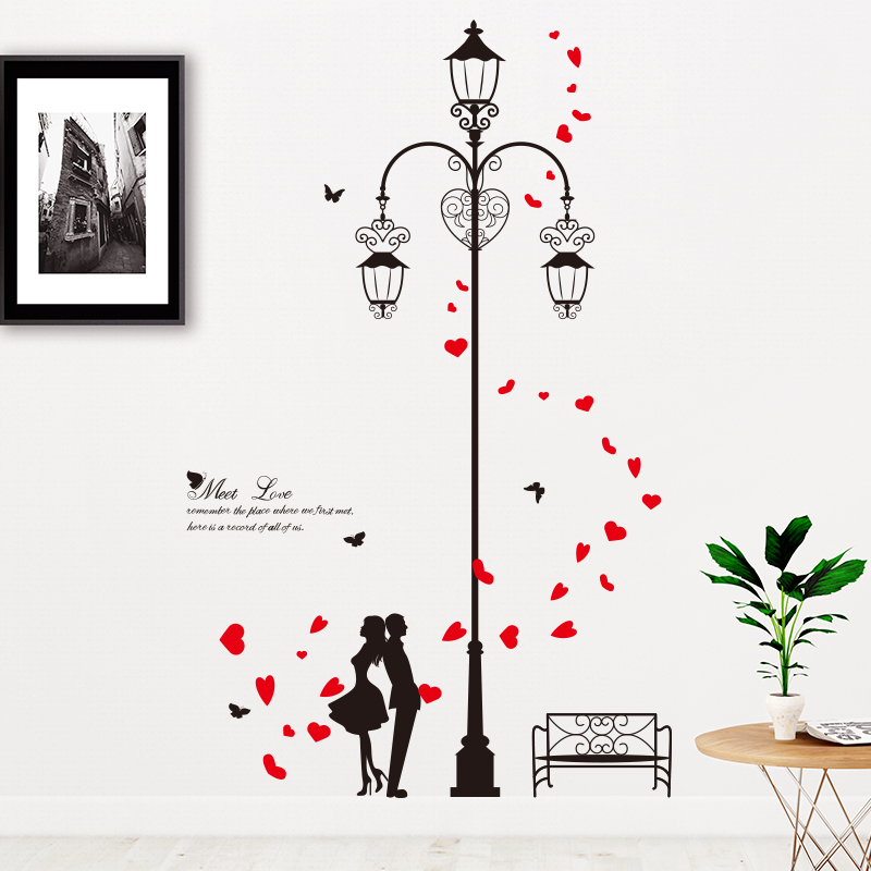 [SHIJUEHEZI] Lovers Red Petals Wall Stickers Vinyl DIY Street Light Couples Mural Decals for Living Room Wedding Room Decoration