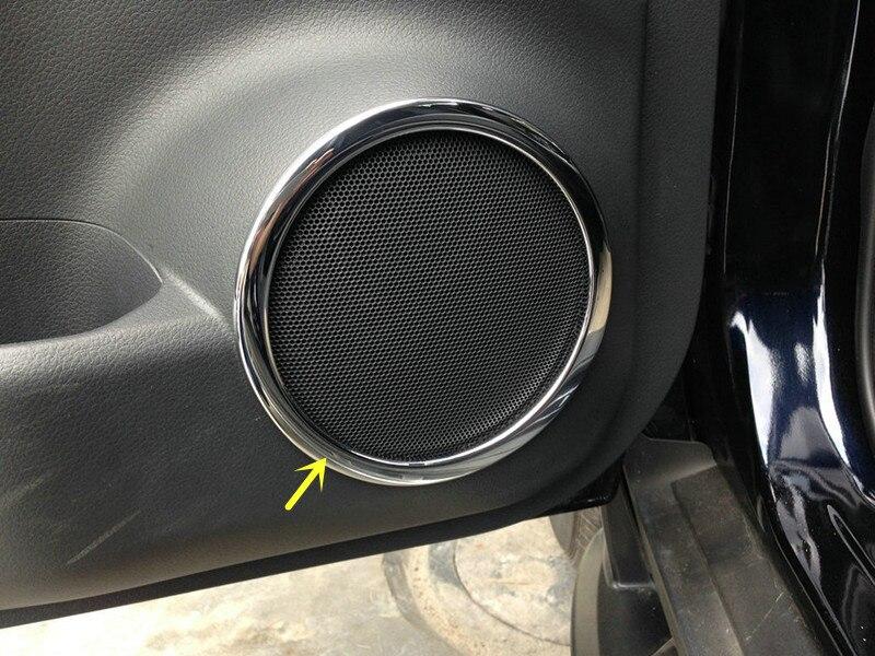 Estilo de coche accesorios Interior altavoz Audio anillo decoración cubierta Trim 4 piezas para nissan Qashqai 2014, 2015