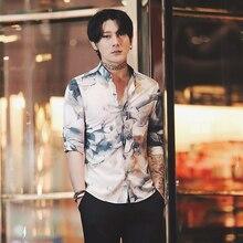 2019 summer new nightclub trend mens personality print five-point sleeve shirt Korean Slim guy flower