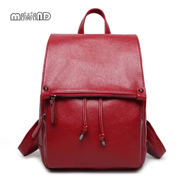 MIWIND Leather Backpack Women Bag High-grade Women Leather Bag Free Shipping Backpacks for Teenage Girls Mochila Feminina