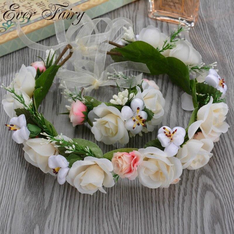Романтическая Цветочная корона для женщин венок волос Свадебные женские