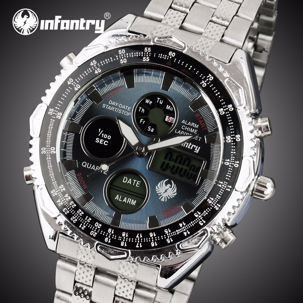 Analog Digital Military Aviator Marine Watch For Men Silver