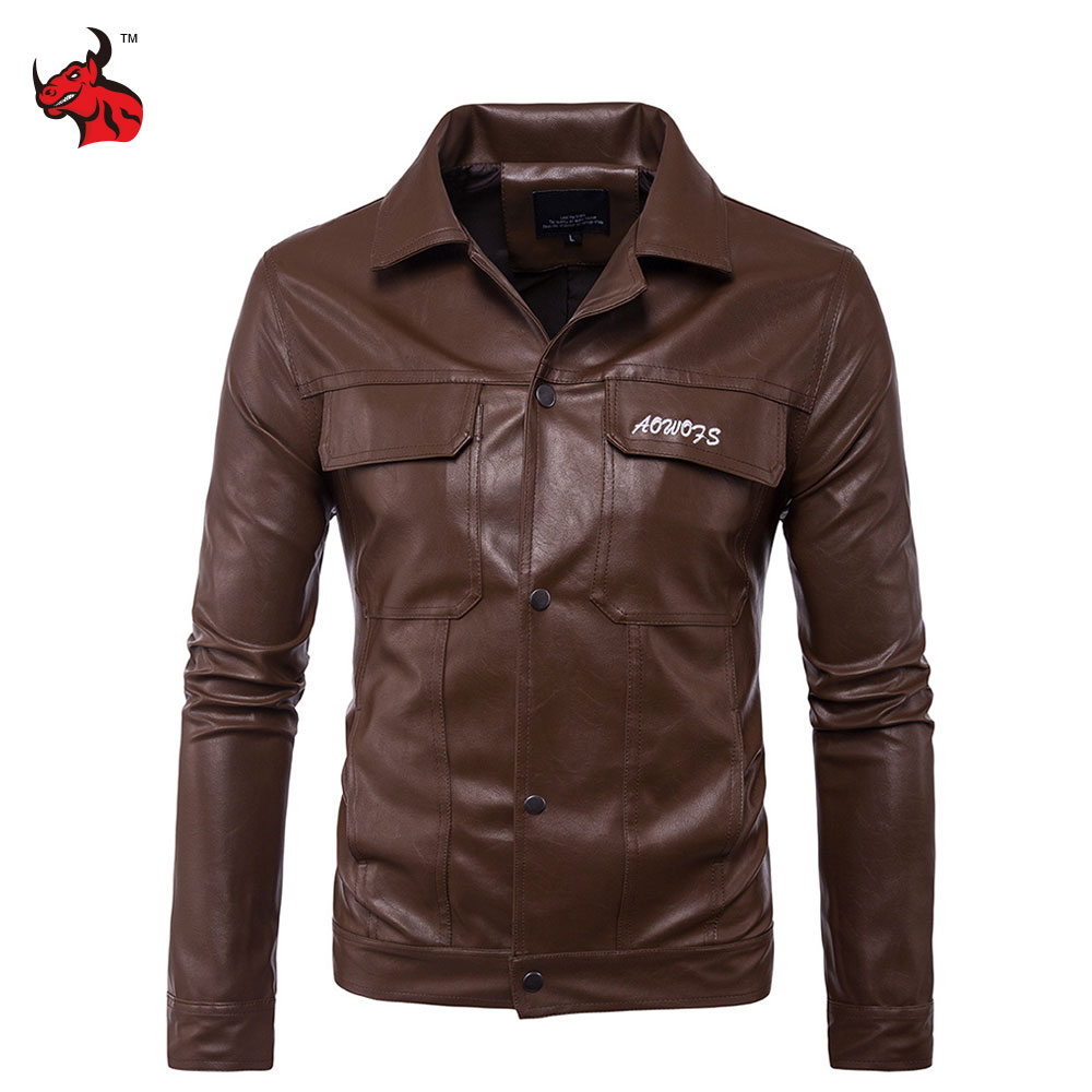 Vintage Retro Motorcycle Jackets Men PU Leather Jacket Biker Punk Alphabet Embroidery Classical Windproof Moto Jacket dhl free shipping top brand warm a1 clothing man 100% vintage italy leather jackets thick men s genuine leather biker jacket