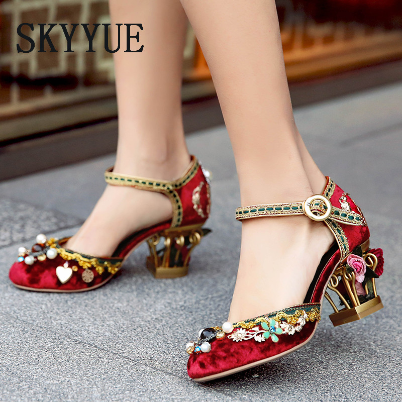 New Genuine Leather Elegant Red Velvet Buckle Strap Women Summer Sandals Round Toe Floral Embelished HIgh Heels Wedding Shoes блуза adl adl ad006ewhpz76