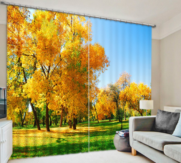 Shade Fabric Forest beauty Digital Photo Printing Blackout 3D Curtains For Living room Bedding room Hotel Drapes Cortinas para