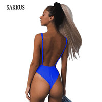 SAKKUS 2018 New Sexy Women Bathing Suit Solid One Piece Monokini Backless Halter Swimsuit Bandage Variety