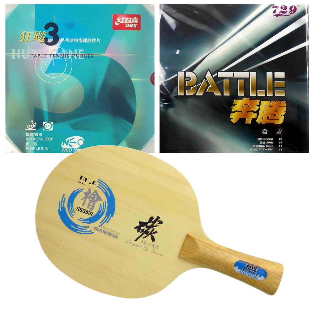 Pro Table Tennis Combo Paddle Racket Sanwei HC.6 with DHS NEO Hurricane 3 and RITC 729 BATTLE Long shakehand FL pro table tennis pingpong combo paddle racket sanwei hc 6 dhs neo hurricane3 and neo tg2 shakehand long handle fl