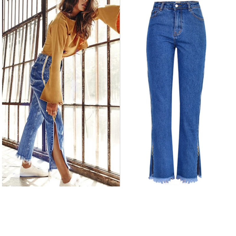 2712098fdcb Fashion Side Zipper Jeans Woman Plus Size High Waisted Boyfriend Jeans For  Women Casual Bootcut Jeans Baggy Denim Pants Bottom