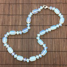 Hand Made Natural Stone Bead Choker Necklace White Opal Bead Knotted Necklace 45 cm Long Oval Bead Silver Jewelry