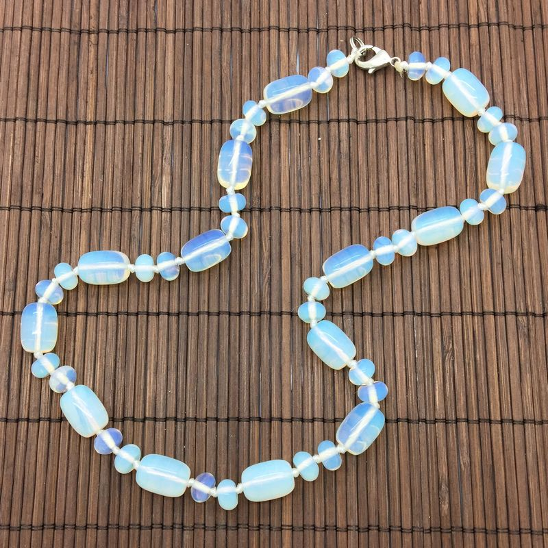 Hand Made Stone Bead Choker Necklace White Opal Bead Knotted Necklace 45 cm Long Oval Bead