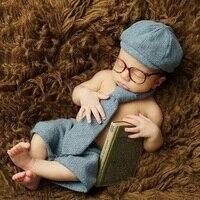 Tapas + Pantalones accesorios de Fotografía recién nacido Bebé Caballero Ropa Pequeño Niño Foto Primera Sesión de Fotos Apoyos Accesorios Trajes