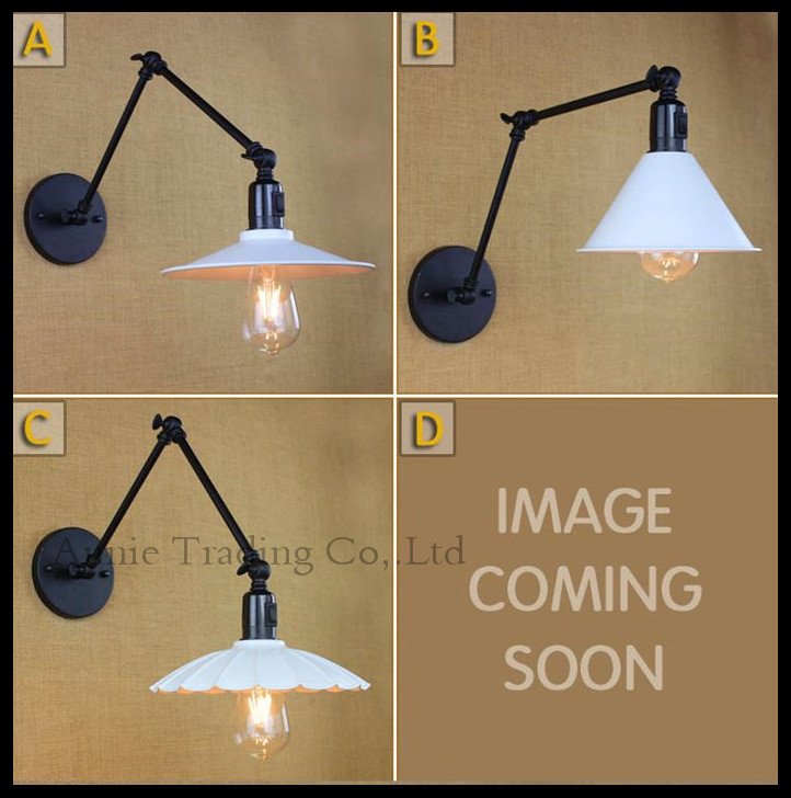 ФОТО American Industrial folding bedroom bedside lamp mirror lamp 25cm or 35cm long-arm rocket switch Vintage Wall lights white shade