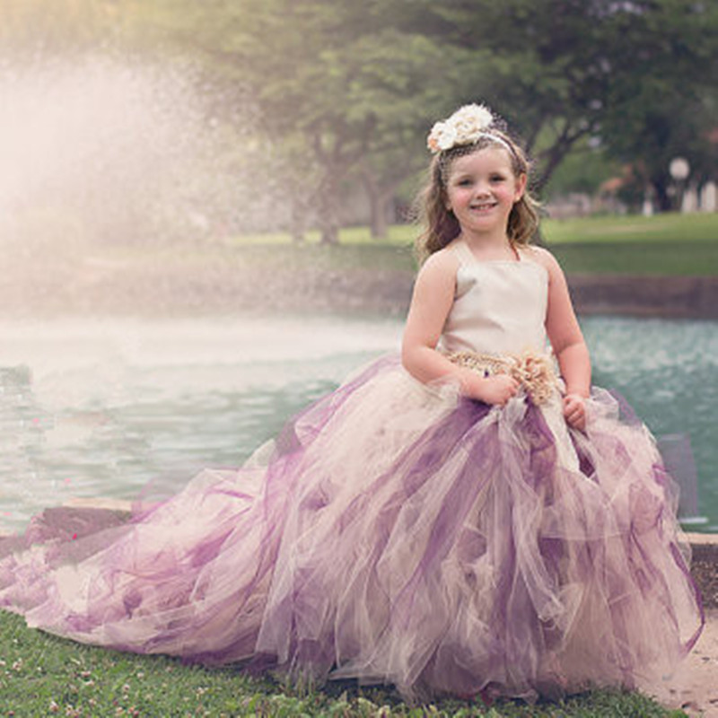 Long Trailing Girls Wedding Dress Ball Gown Flower Tulle Tutu Dress Children Kids Pageant Festival Party Evening Formal Dresses ball gown sky blue open back with long train ruffles tiered crystals flower girl dress party birthday evening party pageant gown