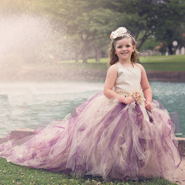 Long Trailing Girls Wedding Dress Ball Gown Flower Tulle Tutu ...