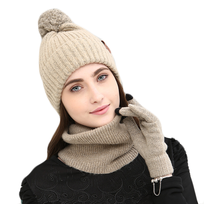 Women Winter Hats Scarves Gloves Set Cotton Thick Warm Knitted Hat Scarf Set For Girls Female Youth Full Fingers Gloves 3PCS Set