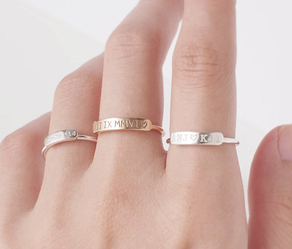 customized bar ring stackable name ring wedding ring engagement personalized Christmas gift birthday gift name initials