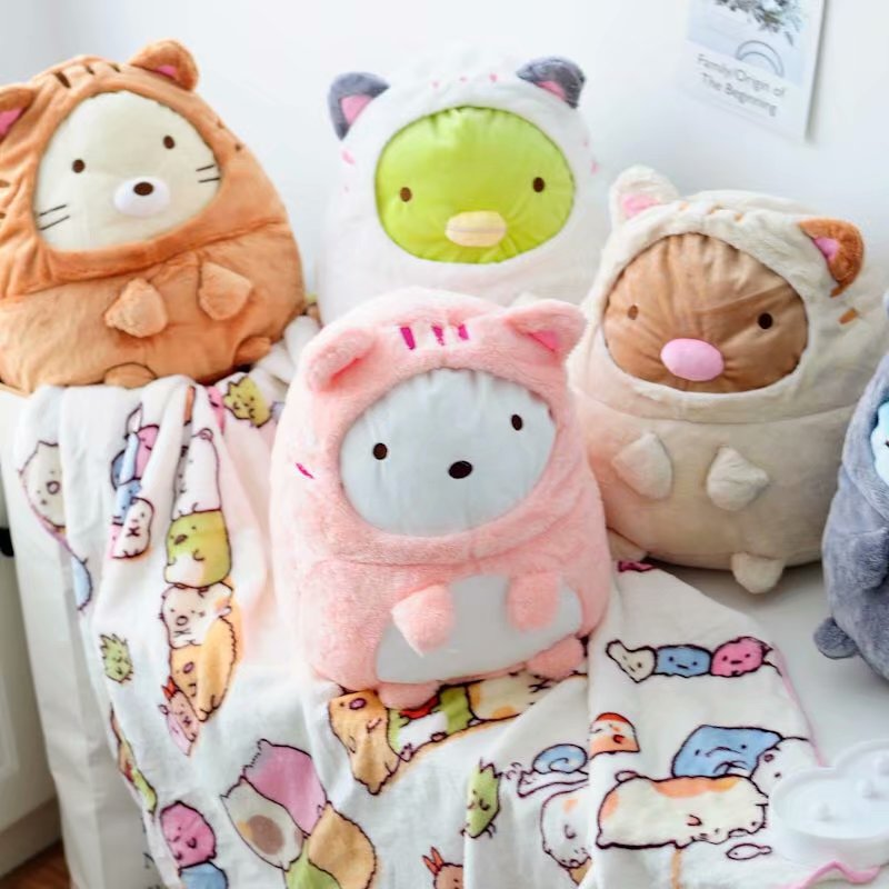 Candice guo! cute plush toy san-x Sumikko Gurashi corner biological turn to cat soft cushion blanket birthday Christmas gift 1pc