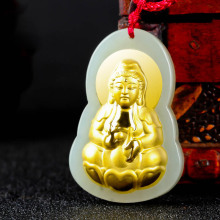 Drop Shipping Gold Jade Lucky Amulet Buddha Pendant Necklace XinJiang Hetian Jade Guanyin Pendant For Women Men Fine Jewelry Gif
