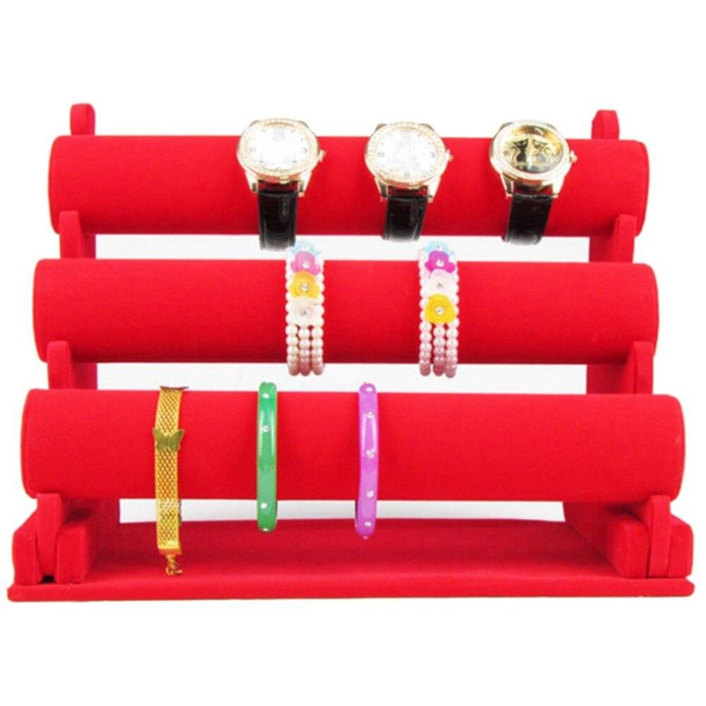 GENBOLI Haute De Luxe 3 Couches Femmes De Bureau Bracelet Présentoir Montre Affichage Stand Bracelet Vitrine Rack Étagère
