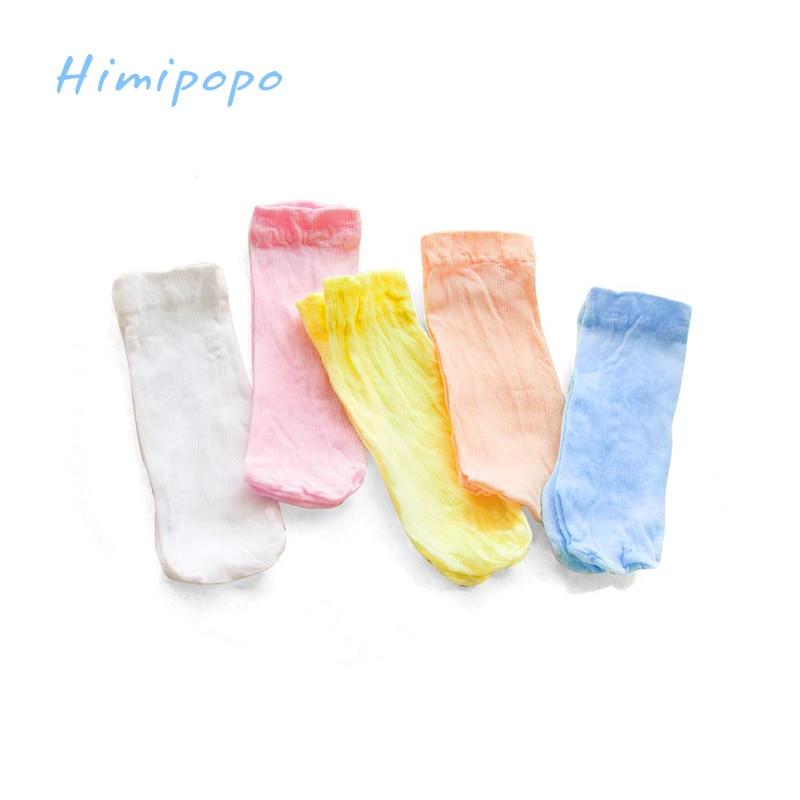 HIMIPOPO Candy Color Baby Summer Socks Newborn Boys Girls Thin Socks 5 Pairs lot Random Color