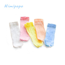 HIMIPOPO Candy Color Baby Summer Socks Newborn Boys Girls Thin Socks 5 Pairs/lot Random Color