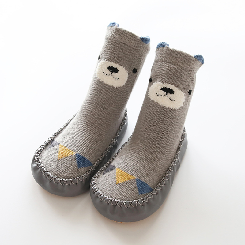 Newborn Toddler Indoor Sock Shoes Baby Socks Winter Thick Terry Cotton Baby Girl Sock With Rubber Soles Infant Animal Funny Sock in Socks from Mother Kids