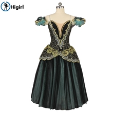 Competiton Women Black Green  Professional Ballet Tutu Dress Adult Ballerina La Esmeralda Performance Long Skirt BT9168