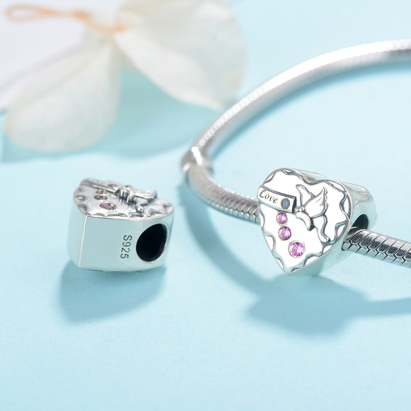 Strollgirl HOT New Design Fit Pandora Bracelet 100 925 Sterling silver Romantic CZ Love Charms Heart beads for Women Jewelry in Beads from Jewelry Accessories