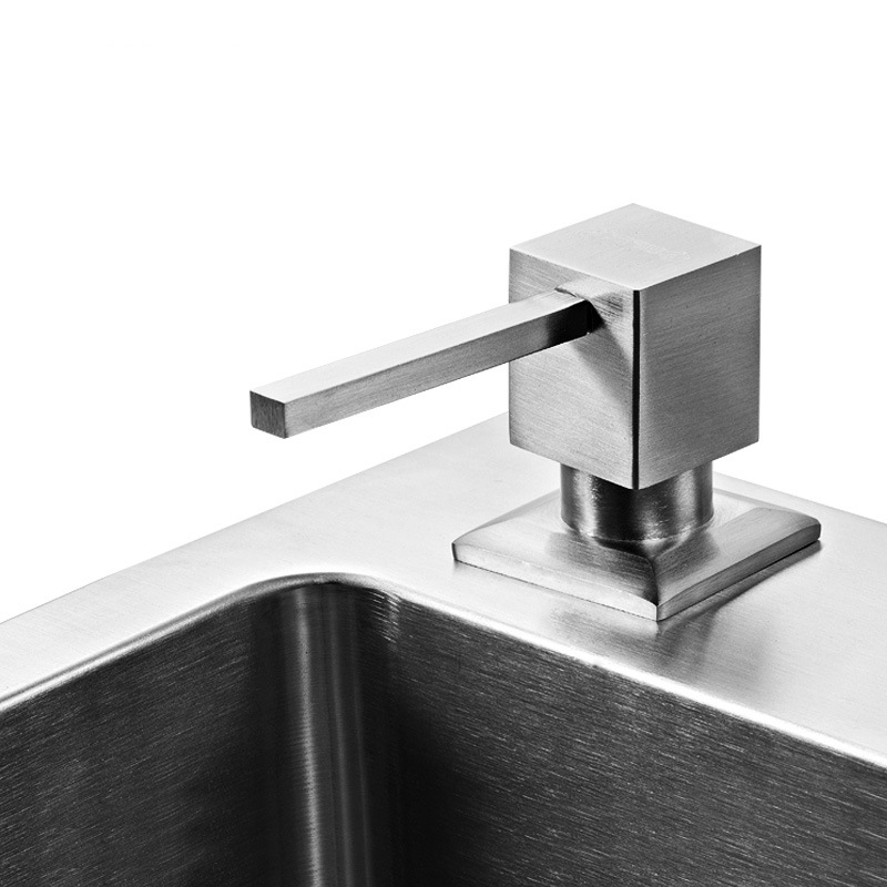 Square Deck Mounted Soap Dispenser Kitchen Sink Suitable Stainless Stell Material Surface Brushed Liquid Detergent Holder
