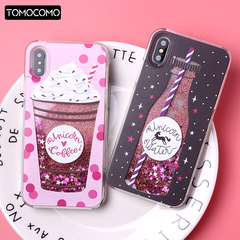 huge selection of d28d3 f4bd9 Glitter Liquid Summer Unicorn Coffee Milk Bottle Flamingo Ice Cream Hard  Case Liquid For Iphone 7 7Plus 6 6S 5 8 8Plus X XS Max