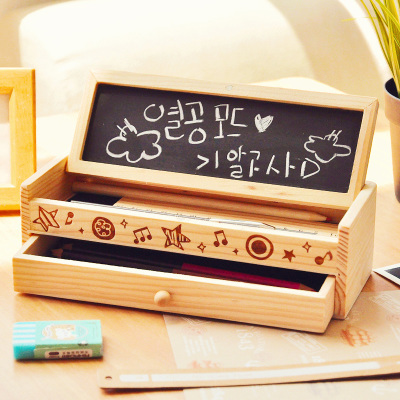 Korean Creative Cute Wooden Pencil Holder Desktop Double Layer Pen Wood Box Desk Organizer For Pens petar piljek zdenka keran and ante ninic micromachining
