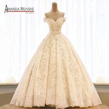 Amanda Chen vestido de noiva Short Sleeve Wedding Dress