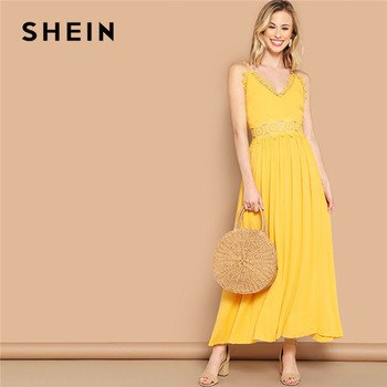8a9ef5dcfbc Шеин ярко-желтый кружевной вставкой Fit And Flare Cami Maxi платье женское  летнее без рукавов с v-образным вырезом с высокой талией однотонное Бохо се.