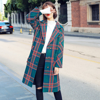 YuooMuoo Red High Street Fashion Single Breasted Wool Coat Women Plaid Long Winter Coat Green Turn down Collar Elegant Jacket