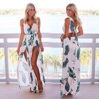 2017 Mulheres de Verão Beach Dress Strapless Maxi Longo Imprimir Bohemia Partido Mulheres Vestido Maxi Divisão Fantasia Vestido de Praia Menina SP80