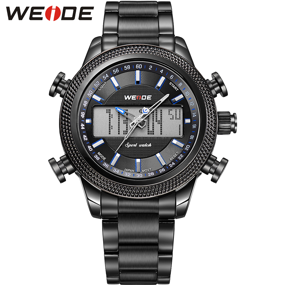 ФОТО WEIDE Analog Digital Dual Mov't Multiple Time Zone Display Full Steel With 3D WEIDE Logo Waterproof Sport Mens Hiking Watches