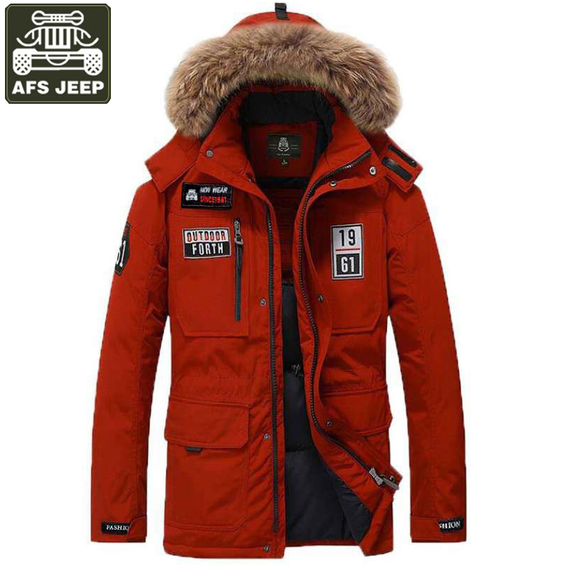 AFS JEEP Brand Winter Jacket Men Down Parka Men White Duck Down Jacket Men Windbreaker Hooded Collar Size M-3XL Chaqueta hombre цены онлайн